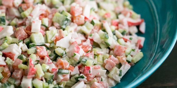 Crab Salad with cucumbers and tomatoes