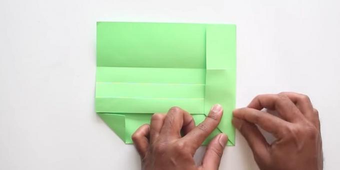 envelope with your hands without glue: Fold the right side of