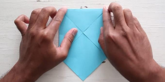 envelope with your hands: Fold the top corner