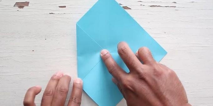 Envelope with your hands: Fold the left corner