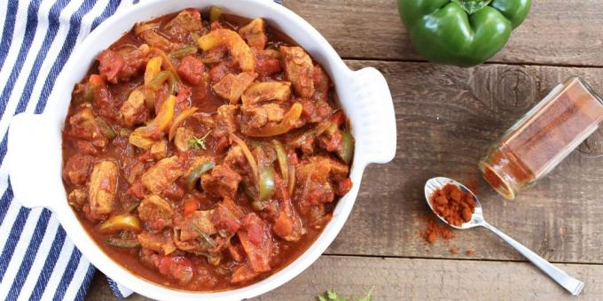 Pork goulash with onions and peppers