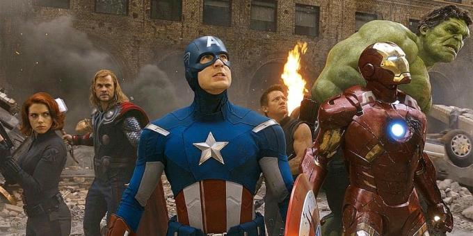 "After the first five films all audiences familiar superheroes united in a large-scale crossover ""The Avengers"""