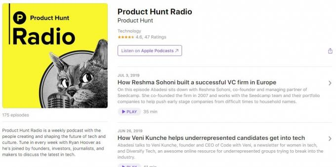 Podcasts about technology: Product Hunt Radio