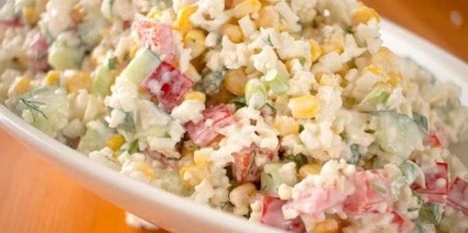 Cucumber salad, corn and cauliflower