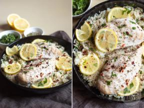 Quick dinner: Lemon chicken with rice in a bowl
